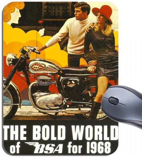 Vintage The Bold World Of BSA 1968 Dealer Poster Mouse Mat. Motorcycle Mouse Pad